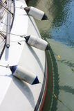 White deck with fenders. White left side sail boat deck with fenders Stock Photos