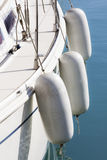 White deck with fenders. White sail boat deck with fenders Royalty Free Stock Image