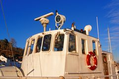 White deckhouse on the fishing boat Stock Photography