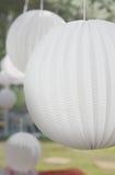White Decor Balls. Suspended Decor Paper Ball on a Wedding Stock Photos