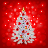 White decorated Christmas tree on red background. Realistic vector Royalty Free Stock Image