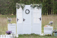 White decorated door. Royalty Free Stock Photo
