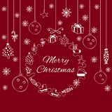 White Decorative Banner Merry Christmas On The Red Background. White Decorative Banner With Hand-Drawn Elements Merry Christmas On The Red Background Stock Image