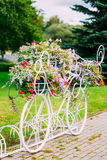 White Decorative Bicycle Parking In Garden. Decorative Vintage Model Of Old Bicycle Equipped With Basket Of Flowers. Toned photo. White Bike Parking With Flower Royalty Free Stock Photos