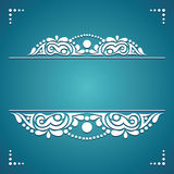 White decorative element on a blue background for cards Stock Photo