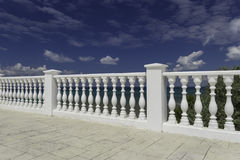 White decorative fence on the waterfront of Anapa resort. White decorative fence on the waterfront of the city of Anapa resort on the Black Sea coast. Blue stock photo