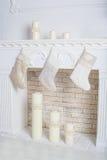 White decorative fireplace Stock Image