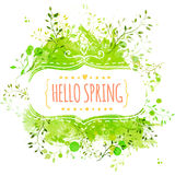 White decorative frame with text hello spring. Green paint splash background with leaves. Fresh vector design for banners vector illustration