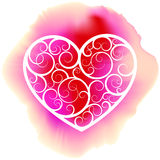 White decorative heart on pink ink blot Royalty Free Stock Photo