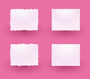 White decorative labels. On a pink background Royalty Free Stock Image