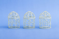 White Decorative Mini Wrought Iron Cages Stock Images