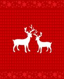 Deer over red background. Xmas cover design. White deer icon over red background. Xmas cover design. Festive background with dots and stars vector illustration