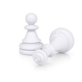 White defeated chess king is near pawns Royalty Free Stock Photos