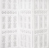White delicate decorative wood panel. Folding screen. Ornate carved folding screen. Boudoir Royalty Free Stock Photos