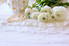 White delicate lace fabric and flowers Royalty Free Stock Image