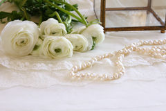 White delicate lace fabric and flowers Royalty Free Stock Photos