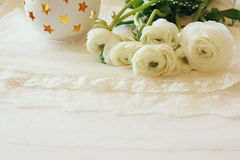 White delicate lace fabric and flowers Royalty Free Stock Photo