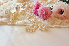 White delicate lace fabric and flowers Stock Image