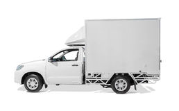White delivery truck with blank sides ready for custom text or l royalty free stock photos