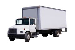 White Delivery Truck isolated Stock Images