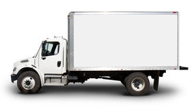 White Delivery Truck Side View Stock Image