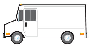 White Delivery Van. A typical American van or truck used for deliveries and as police vehicles. The van is plain white and blank on the side but can be altered royalty free illustration