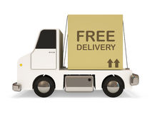 White Delivery Van with Carton Box Royalty Free Stock Images