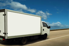 White delivery van, high (sky) level of service. Stock Images