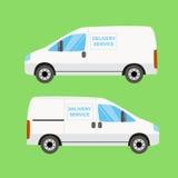 White delivery van twice Stock Photos