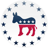 White Democrat Button Royalty Free Stock Images