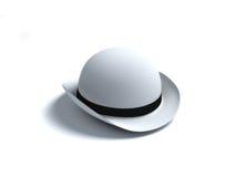 White derby hat. On white bacground Stock Photos