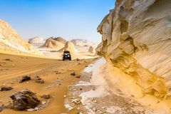 The White Desert at Farafra in the Sahara of Egypt. Africa. Incredible scenery stock photo