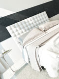 White design bedroom interior with double bed Royalty Free Stock Photography