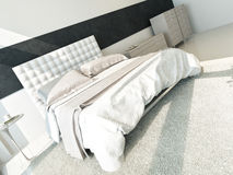 White design bedroom interior with double bed Stock Photography