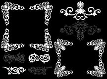 White design elements on a black background. Design elements on a black background Royalty Free Stock Photos