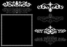 White design elements on a black background. Design elements on a black background Stock Photos