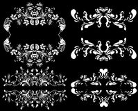 White design elements on a black background. Design elements on a black background Royalty Free Stock Images