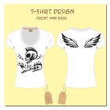 White  design girl's T-shirts  with wings, rock, skull, with the Stock Images