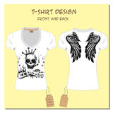 White  design girl's T-shirts  with wings, rock, skull, with the Royalty Free Stock Image