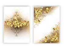 White design with golden roses Royalty Free Stock Image