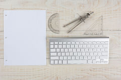 White Desk and Graph Paper Stock Photography