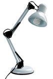 White desk lamp with energy saving bulb Stock Image