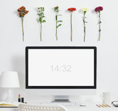 White desk with spring environment. Stock Photography