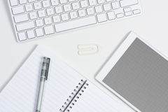 White Desk Tablet Grid Screen Royalty Free Stock Photos