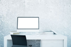White desktop with empty computer Royalty Free Stock Photos
