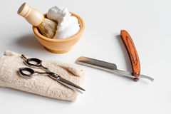White desktop with tools for shaving beards. Close up royalty free stock photography