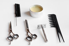 White desktop with tools for shaving beards. Close up stock photography