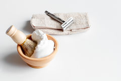 White desktop with tools for shaving beards. Close up stock photos