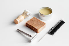 White desktop with tools for shaving beards. Close up stock photo