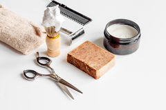 White desktop with tools for shaving beards. Close up stock images
